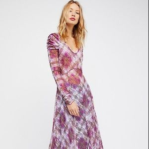 NWT Free People Rudi Pink Plaid Maxi Slip Dress